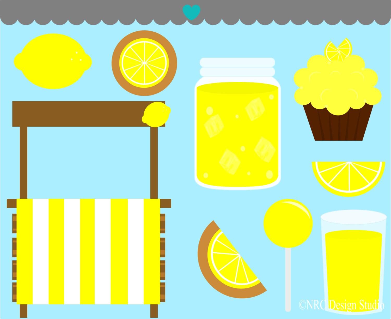 Cute Lemonade Stand Clip Art Graphics - Digital Clipart Commercial Use ...