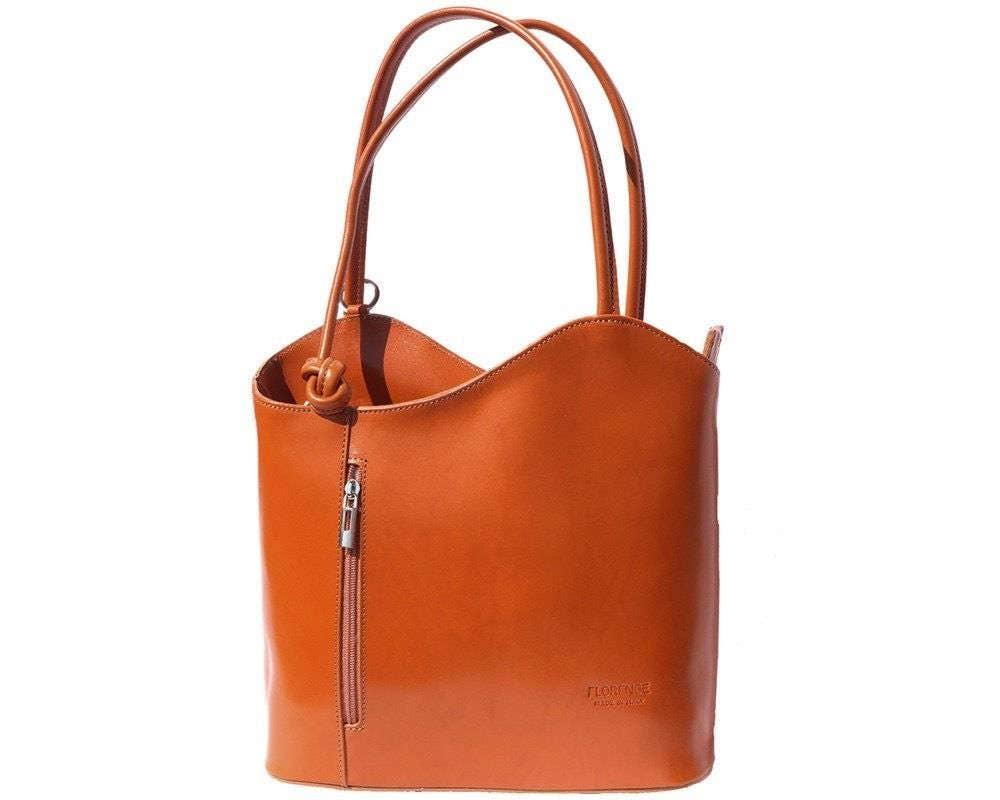 Italian handmade leather convertible shoulder bag backpack in tan