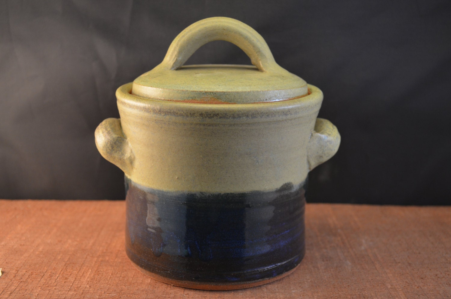 Handmade Ceramic Canister, Cookie Jar, Lidded Kitchen Storage with Handles - Medium - Moss Green and Indigo Blue