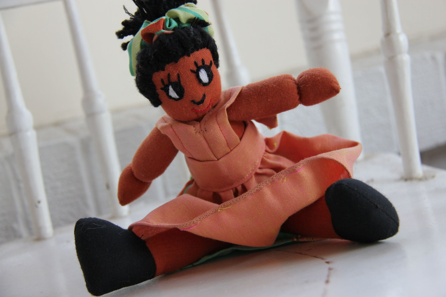Agatha Girl Doll in Salmon with Stripes from Kenya - Purchase Benefits Adoption