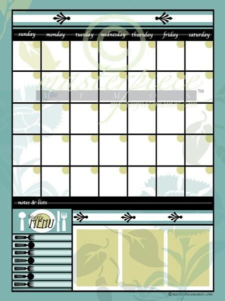 LARGE Dry-Erase Garden Greens White Calendar Memo Note Board Print ...