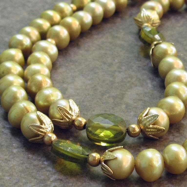 Wasabi Freshwater Pearl Necklace Olive CZ and by designsbycher from etsy.com