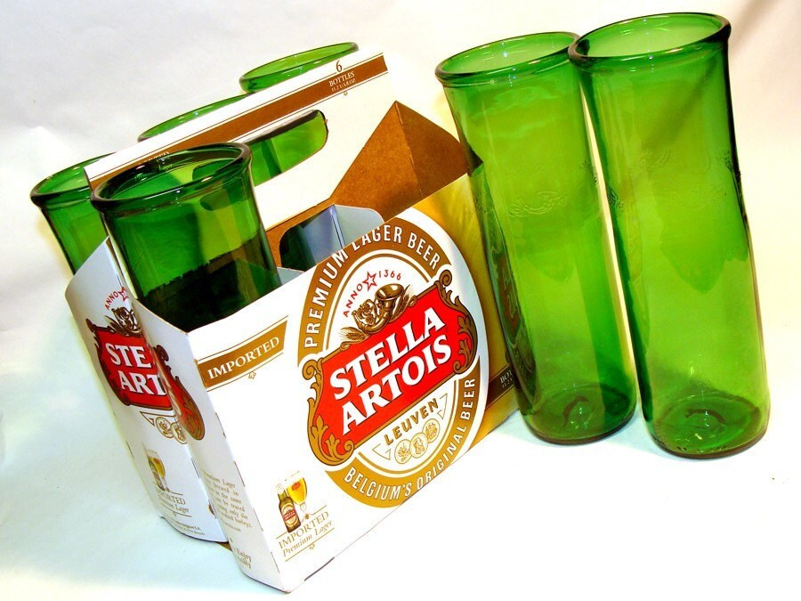 Six pack of Recycle Stella Artois Beer Bottle Drinking Glasses / Belgium Eco Friendly / Dishwasher Safe