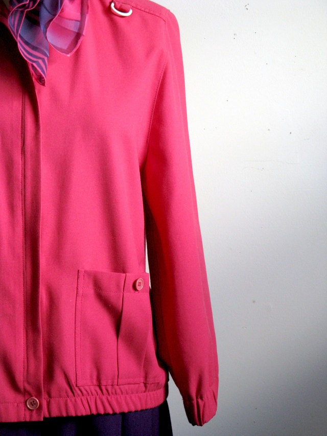 Vintage 1970s Hot Pink Jacket Piccolo Petites by Koret Summer Coat Size Medium vl vintage
