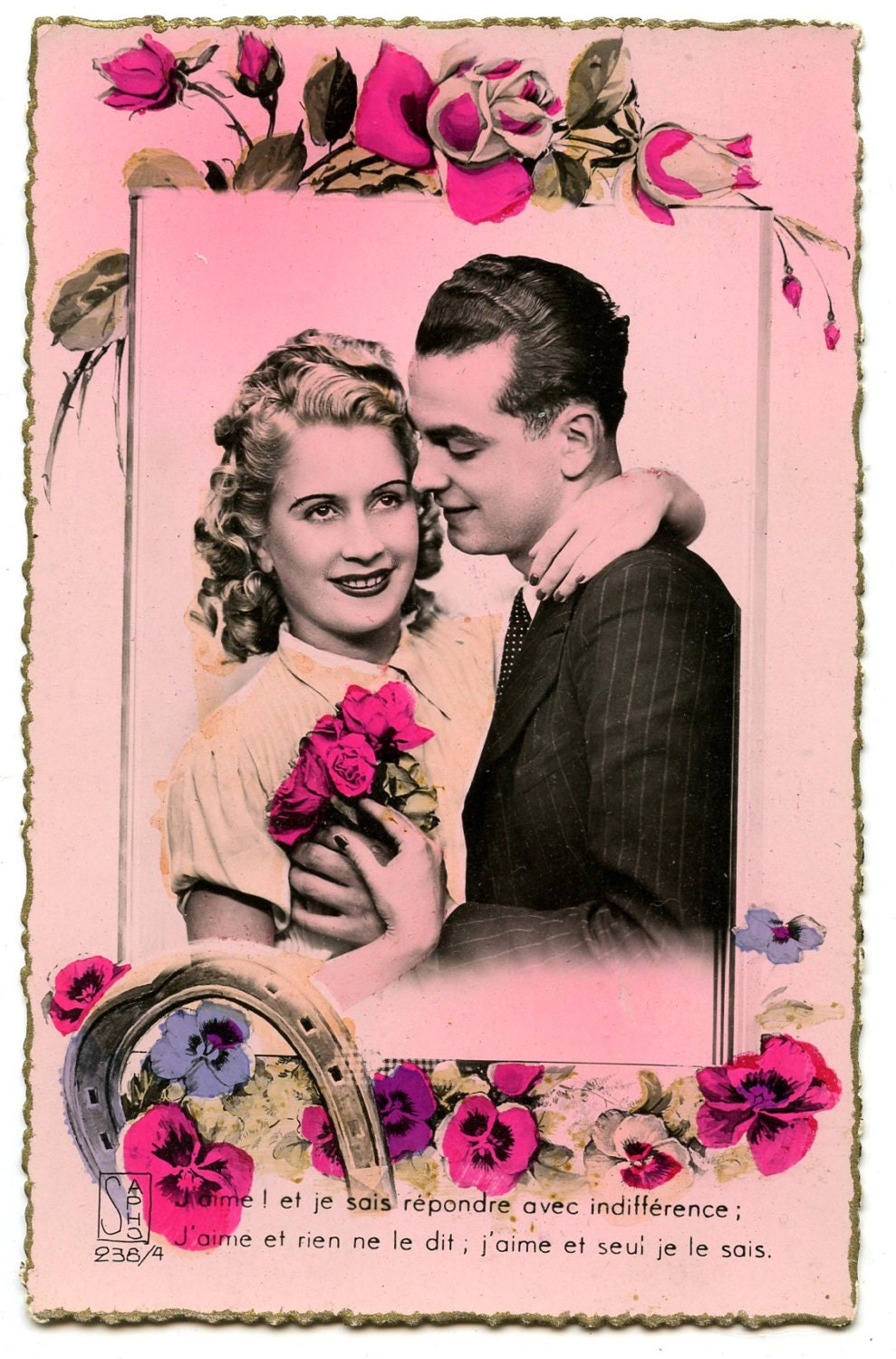 Image of 1940s Romantic Couple Postcard Antique Vintage Romance Flowers Roses Paris