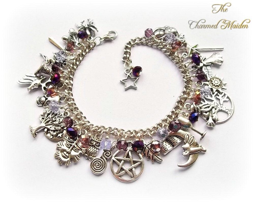 Purple Wicca Charm Bracelet Wiccan Bracelet Pagan Bracelet Goth Bracelet Witch Druid Magic Pagan Charms Book of Shadows Pentagram