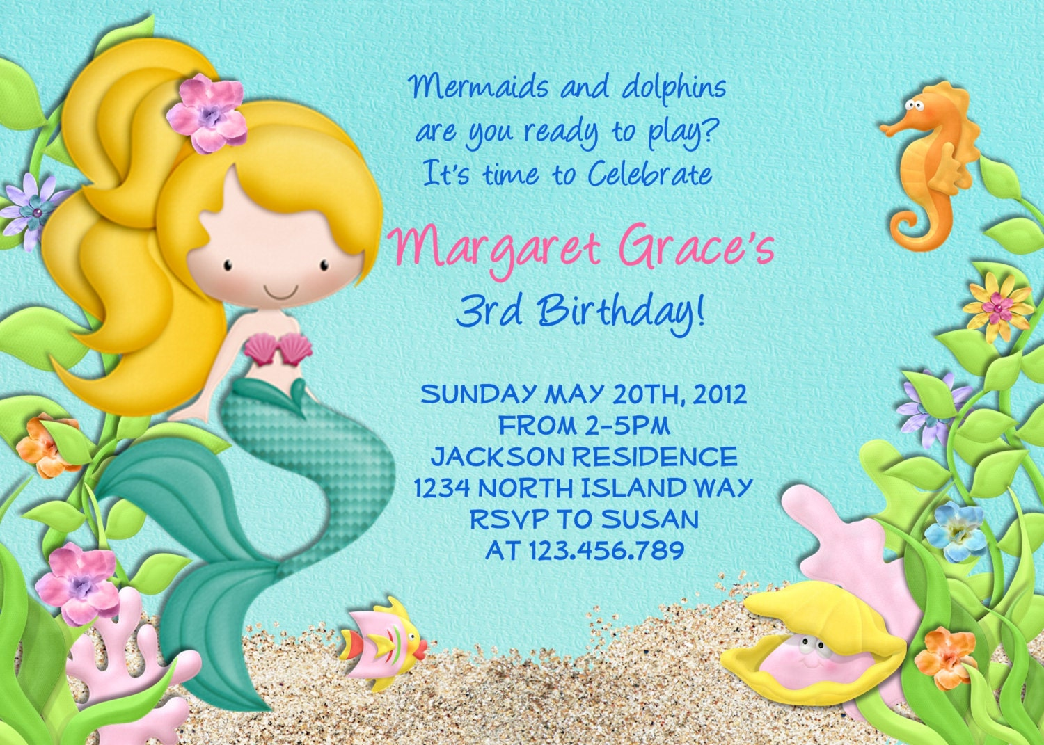 Mermaid Birthday Party Invitations is awesome invitations design