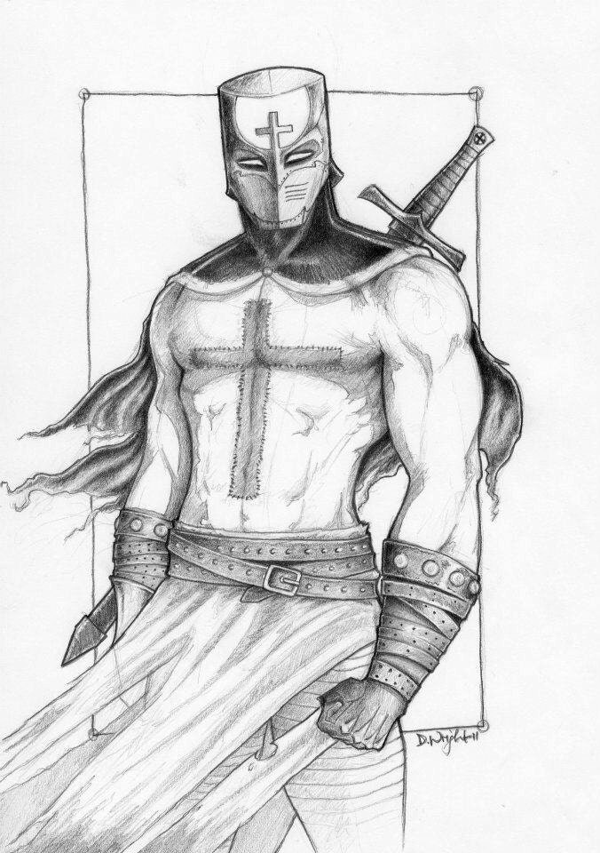 Items similar to Medieval/Fantasy Templar Knight Drawing ...