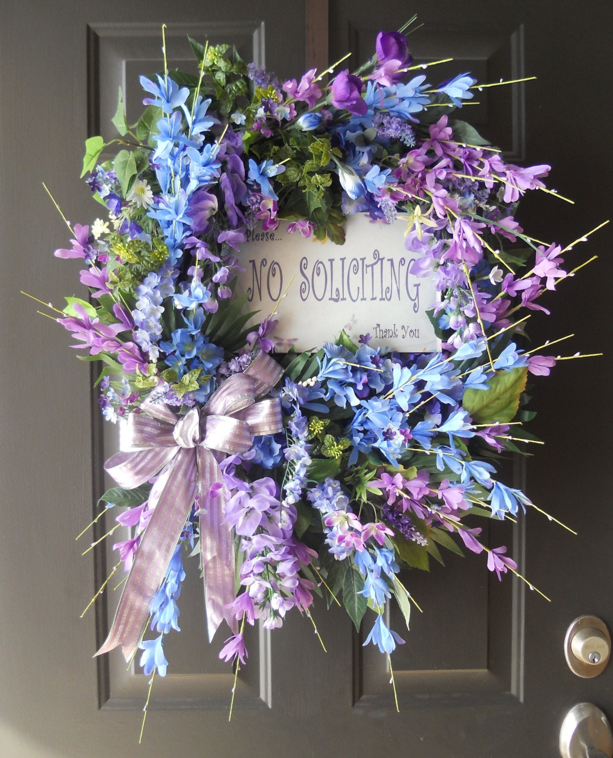 Spring Wreath, Summer Wreath, Personalized Sign, Floral Wreath Home or Office Decor - PebbleCreekDesigns