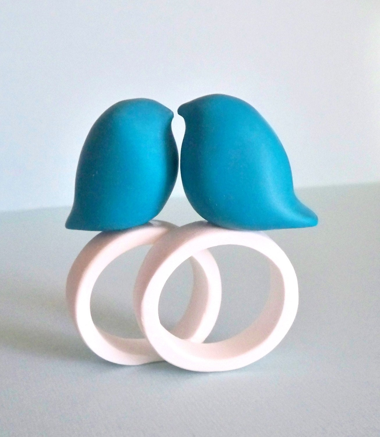 Stylized Deep Tiffany Blue Love Birds