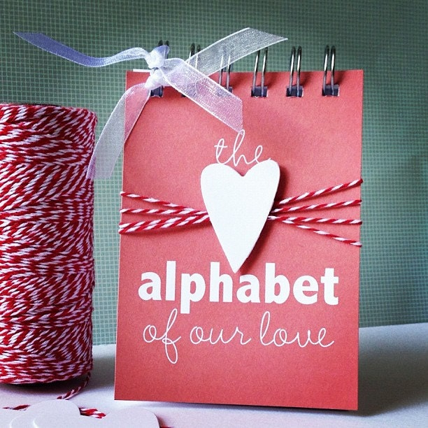 Alphabet of Our Love . Valentine Wedding Engagement Marriage Anniversary Deployment Birthday Card Gift // Mini Album // ABC ABCs Him Her - iloveitall