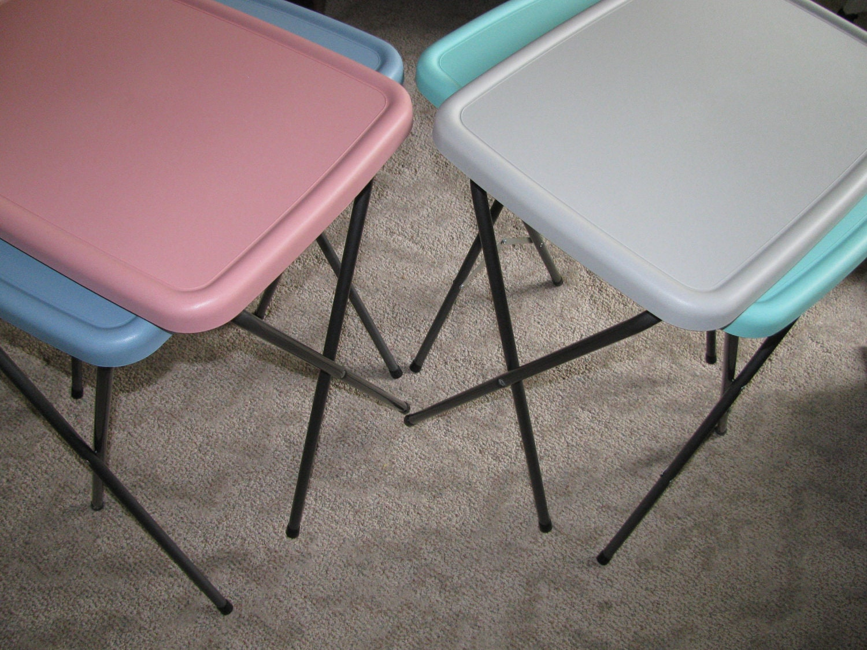 Retro Tv Tray Set 4 Pastel Snack Tables Tupperware By