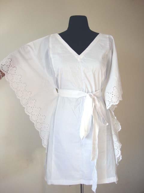 Bridal robe short dress white kaftan tunic dress by for White kaftan wedding dress