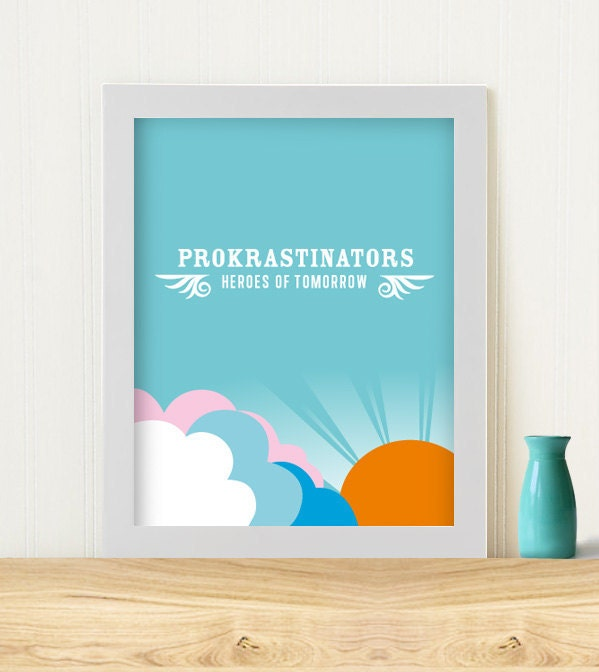 "Original Art Print ""'Procrastinators"" on blue"