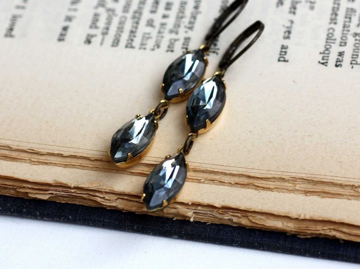 Smoky Marquise. Vintage Black Diamond Earrings - ships on 6/19