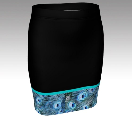 Turquoise peacock feather bordered pencil skirt black fitted mini bodycon size xs s m l xl animal print peacock eyes unique pattern blue