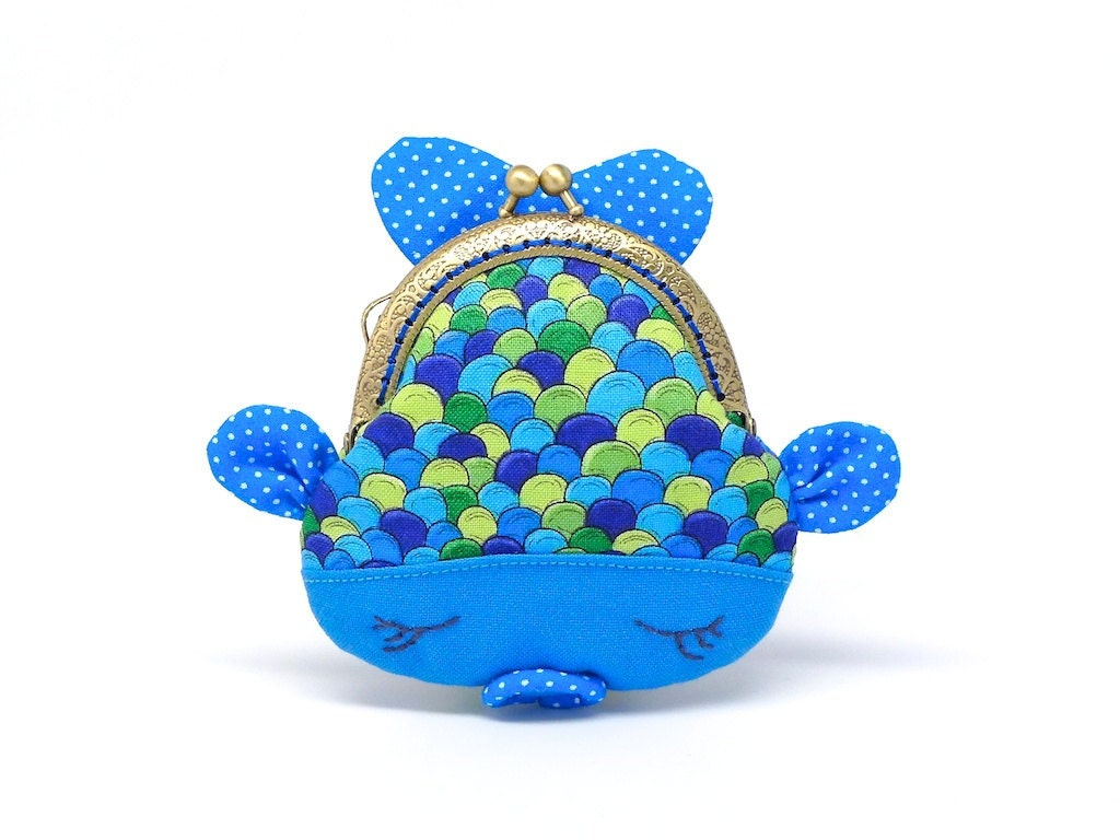 Cute blue fish clutch purse