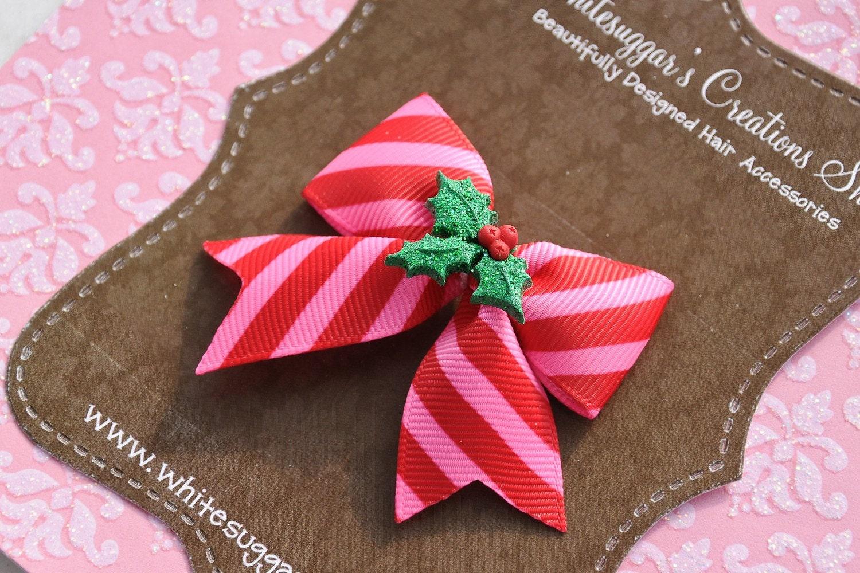 NEW Christmas Glitter Leaves Mini Hairbow - Great for Infants, Newborns, Toddlers, Girls, Teens, Women