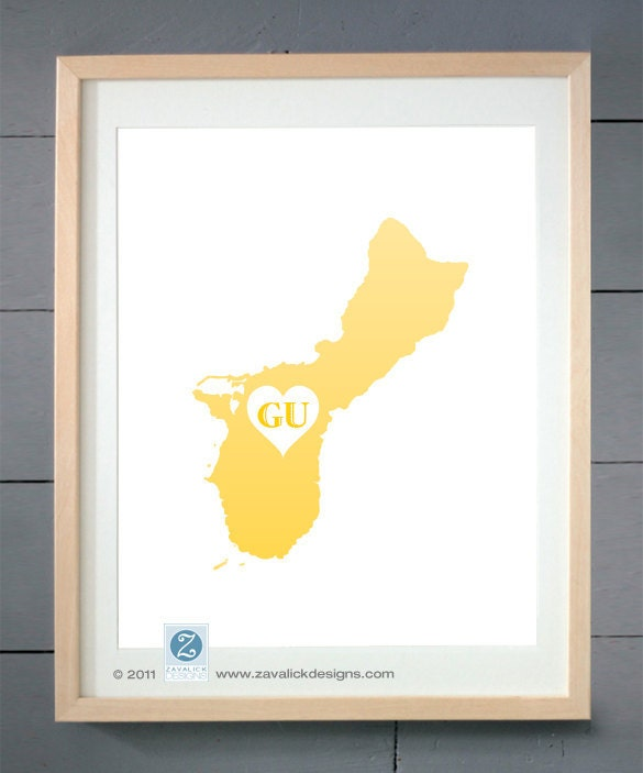 "Guam - U.S. Territory (SL Series) 8x10"" Print in Custom Colors"