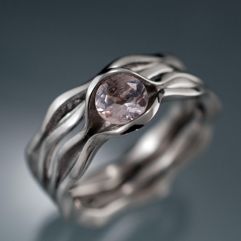 bridal set morganite wave engagement ring and by