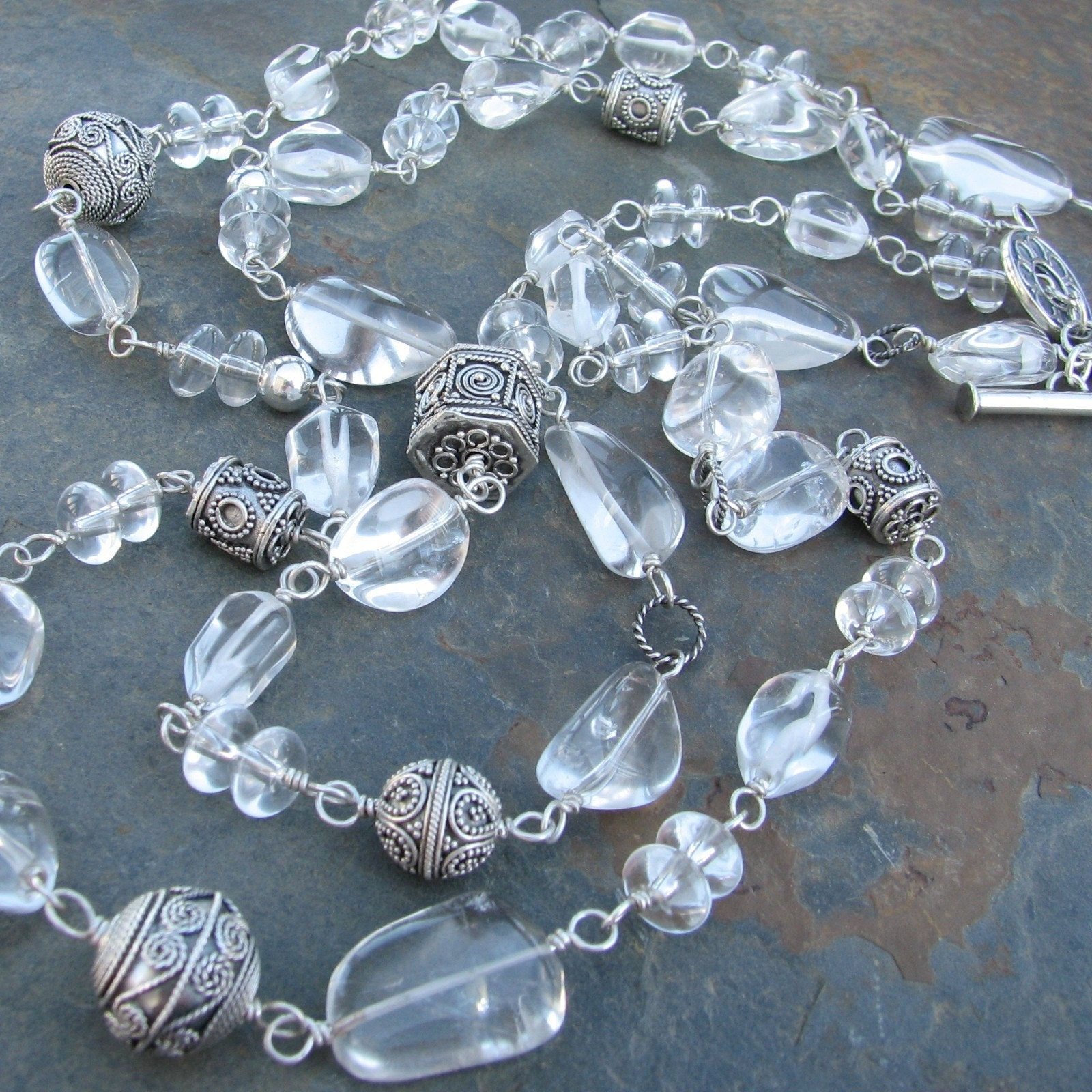 Ice is Nice natural rock quartz, Bali sterling necklace