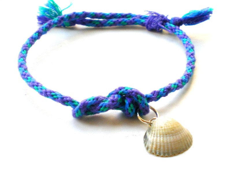 Seashell Bracelet, Hand Braided Cord Bracelet, Beach Jewelry, Blue Bracelet