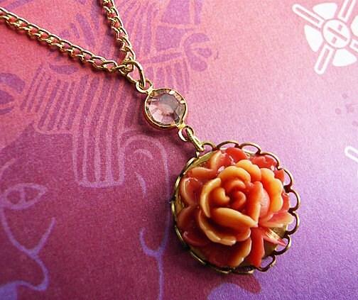 Coral Rose Cabochon Necklace by MaruMaru