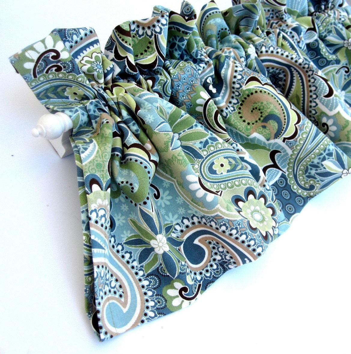 FOREST GLEN Valance Curtains Blue Green Teal Brown Tan Paisley Flowers ...