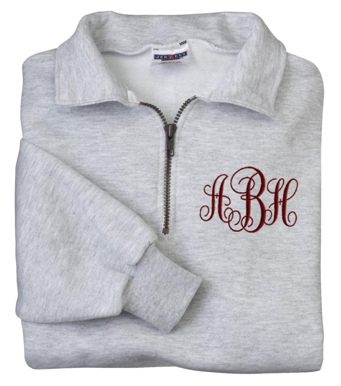 monogrammed sweatshirt quarter zip pullover by parsik93 on etsy