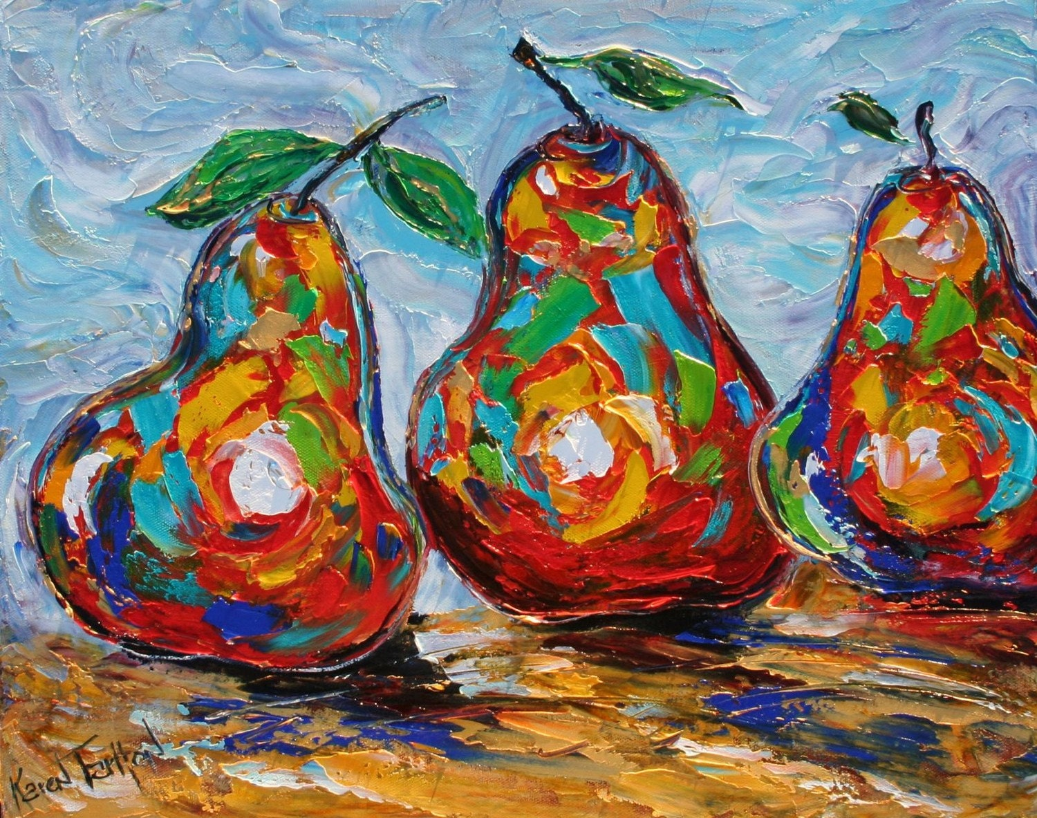 Karen Tarlton Original Oil Painting Trio of Pears art
