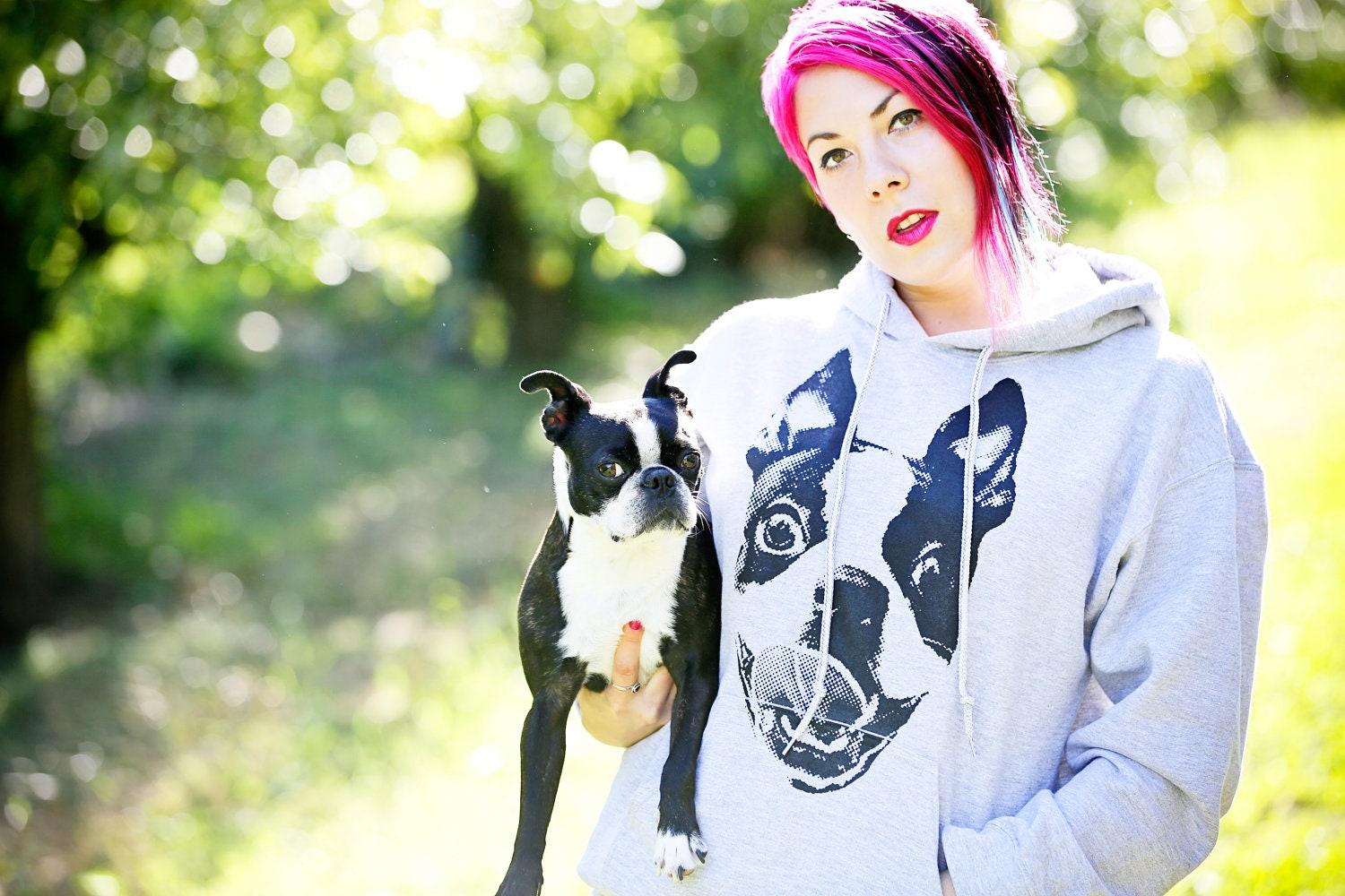 Womens Boston Terrier Hoodie Size S-M-L-XL-2XL Free Shipping