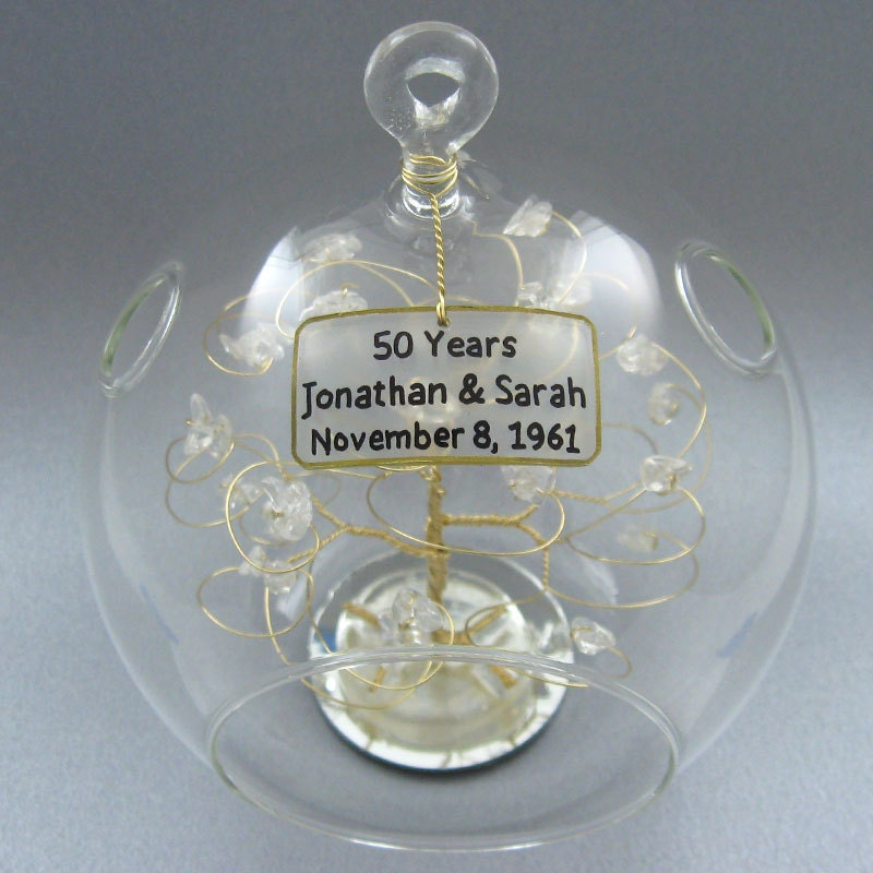 Th anniversary gift personalized ornament gold with by