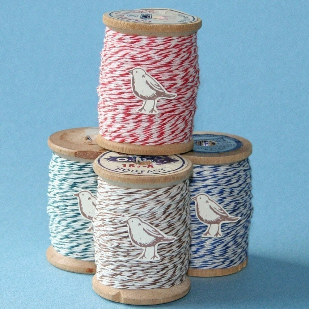 Red Bakers Twine, 50 Yards on Vintage Spool