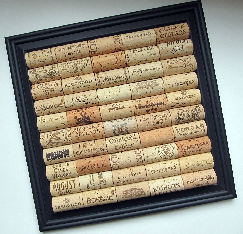 Wine cork board with black square frame by lizziejoedesigns for Cork board organizer