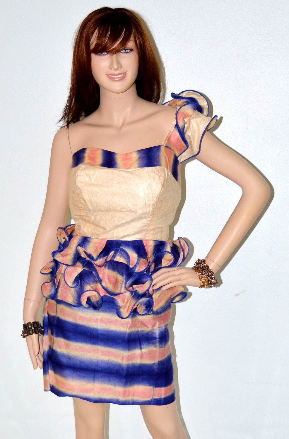 African Suit  Blue and Beige One Shoulder