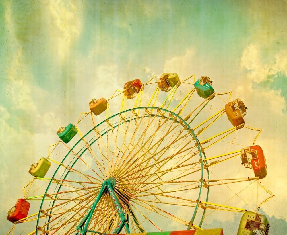 Grand Wheel - Fine Art Carnival Photography - 8x10 - Ferris wheel at sunset along the midway