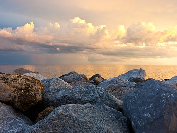 Large Landscape Photograph - Rocks, Water, Clouds - Fine Art Photography Print - 30x40