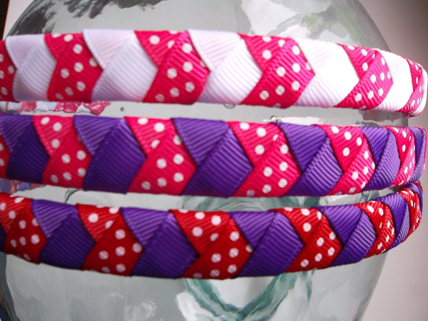 Pink and Red Head Bands for Valentines Day Braided Headband - ransomletterhandmade