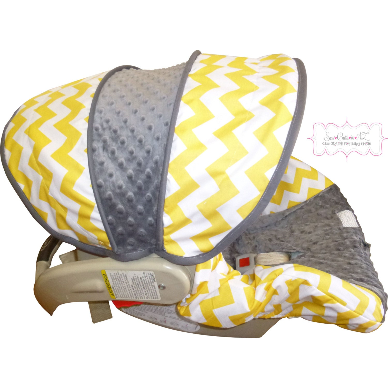 yellow chevron with charcoal infant car seat cover by sewcuteinaz. Black Bedroom Furniture Sets. Home Design Ideas