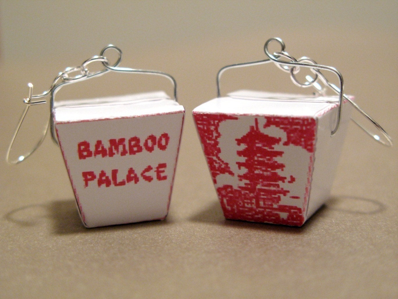 Mini Chinese Take Out Box Earrings