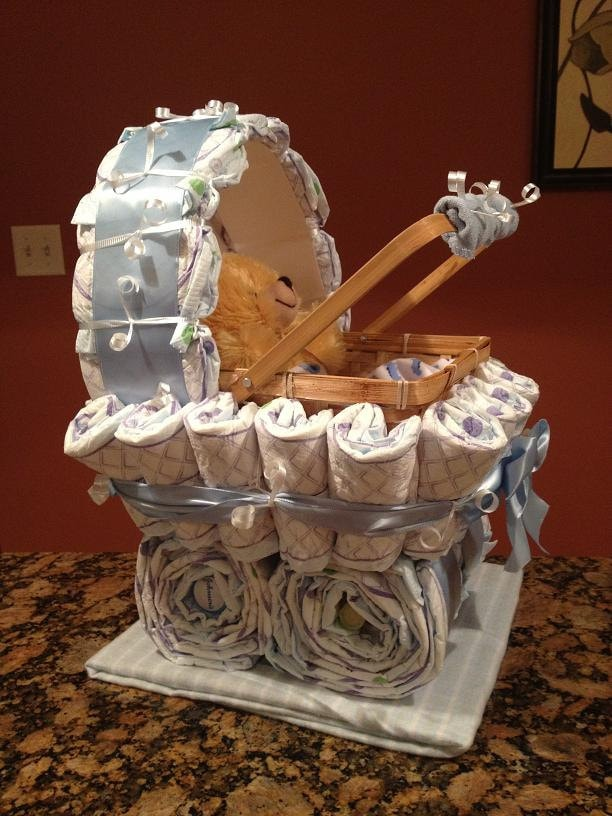 Unique Child Gift Ideas : Diaper carriage unique baby shower gift by jocelynscreations
