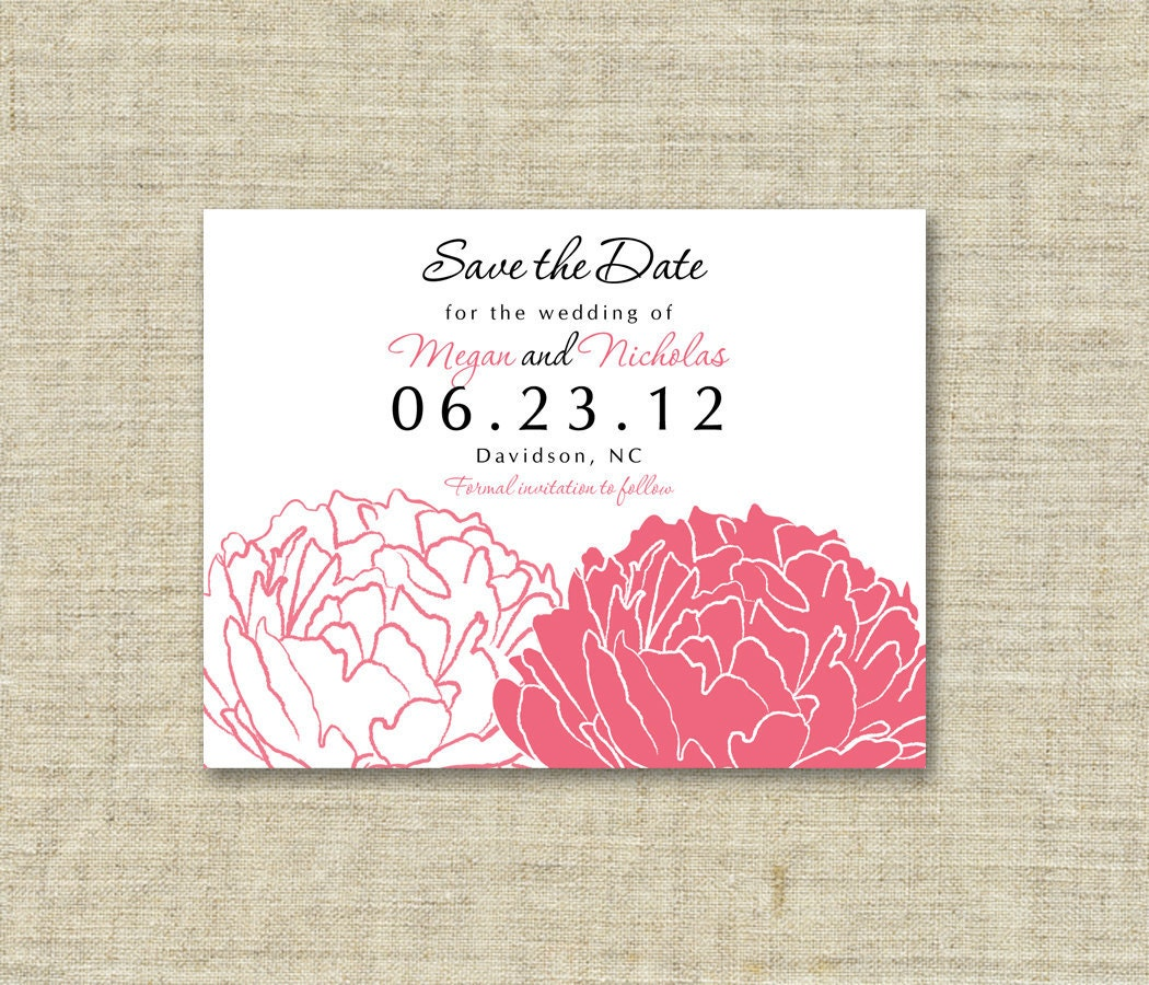 Pink Peony Save the Dates Set of 25