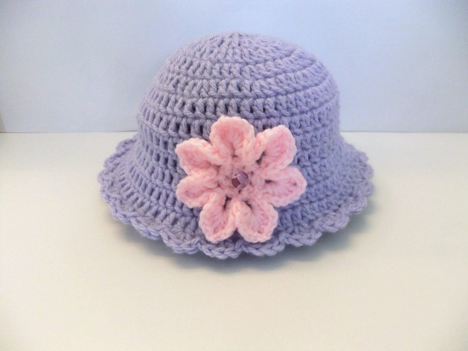 "Purple Handmade Baby Crochet Sun Hat, 17.5"" Round with Flower, 0-6 Months, Doll, Accessory, Gift, Shower, New Born"