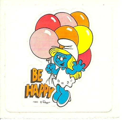 Smurfs Cartoon Characters 80 S : Vintage s smurfette quot be happy sticker