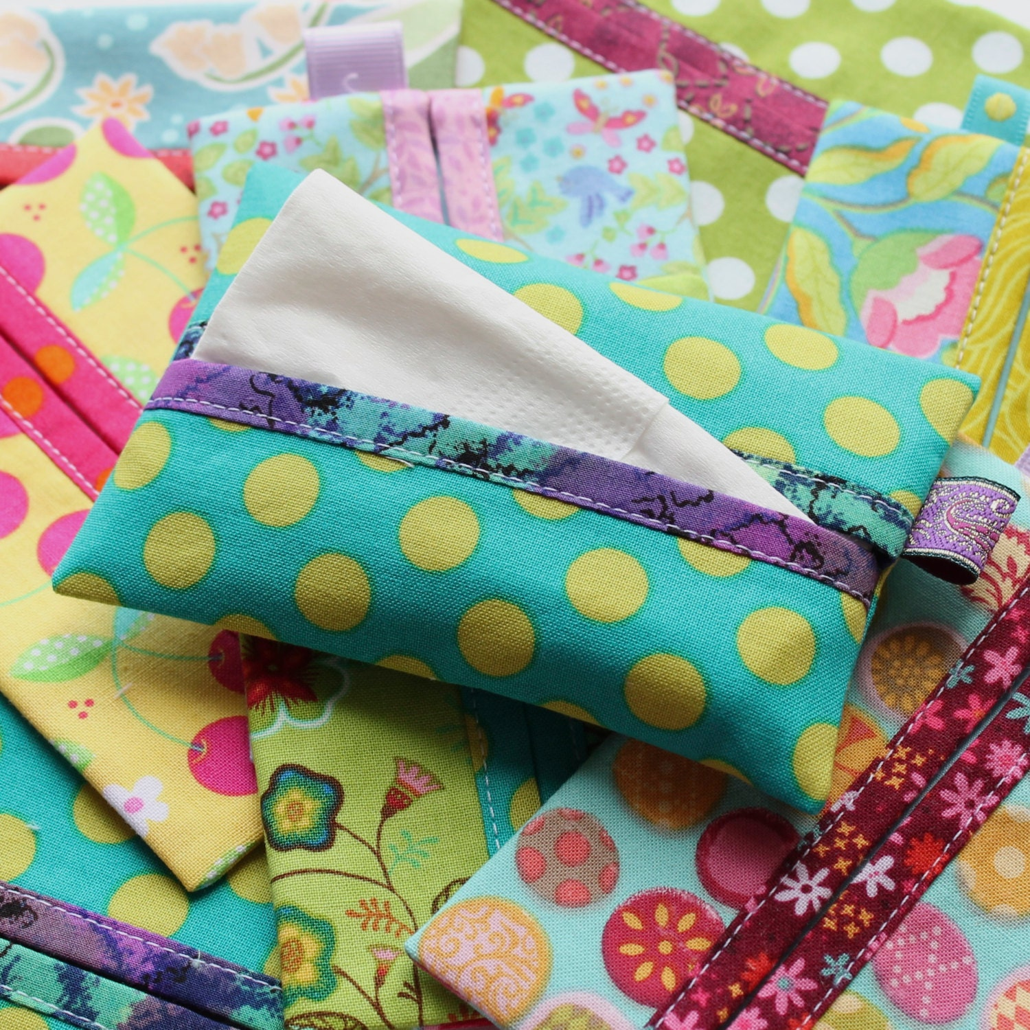 5 x Pocket tissue holders or travel Kleenex cases  Party Pack  various fabrics  ideal favor