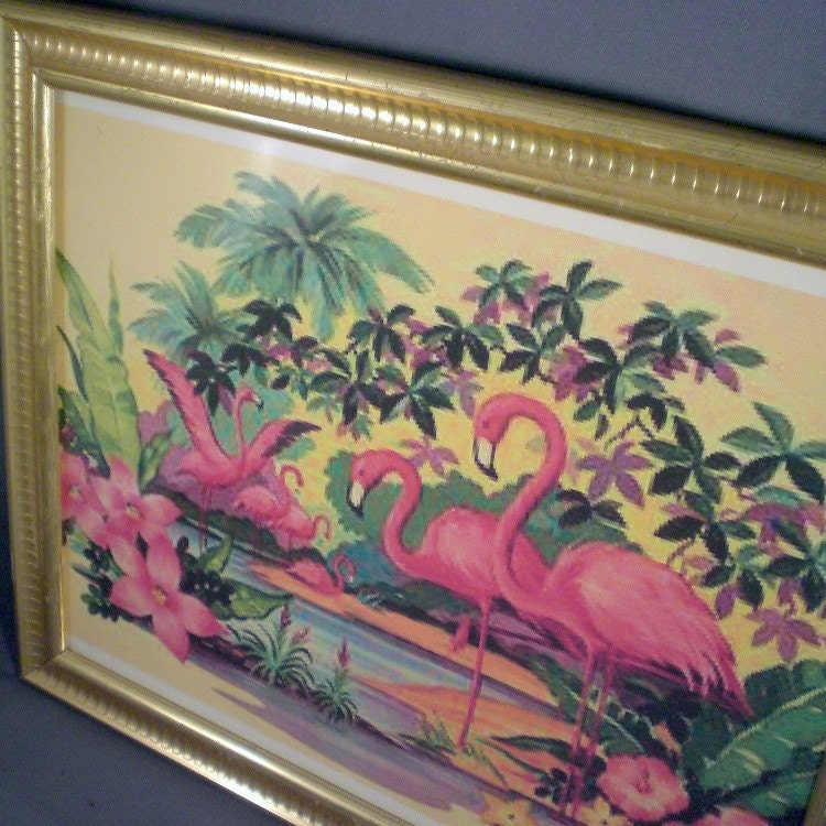 Vintage Flamingo Tropical Print In A Gold Frame by ...