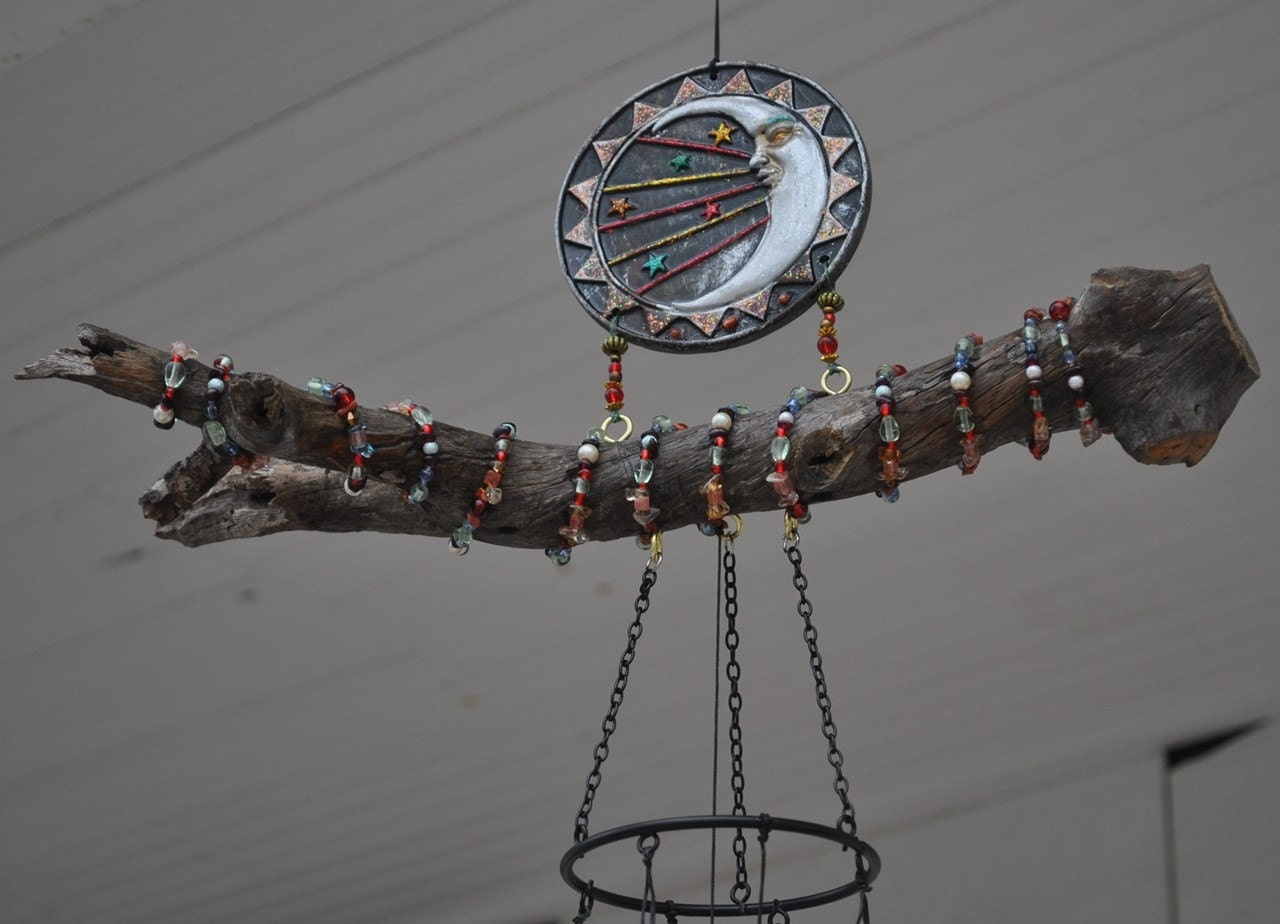 Ooak Scented Gemstone Celestial Sun and Moon Wind Chime