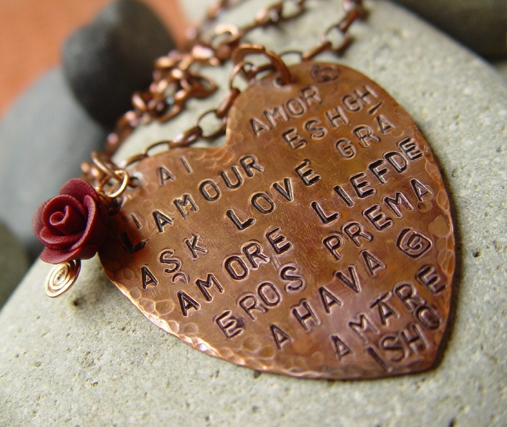 LOVE in 15 languages antiqued copper heart necklace Latin Greek Arabic Persian Sanskrit Chinese Hebrew Turkish French Spanish Portugese Italian Dutch Irish English