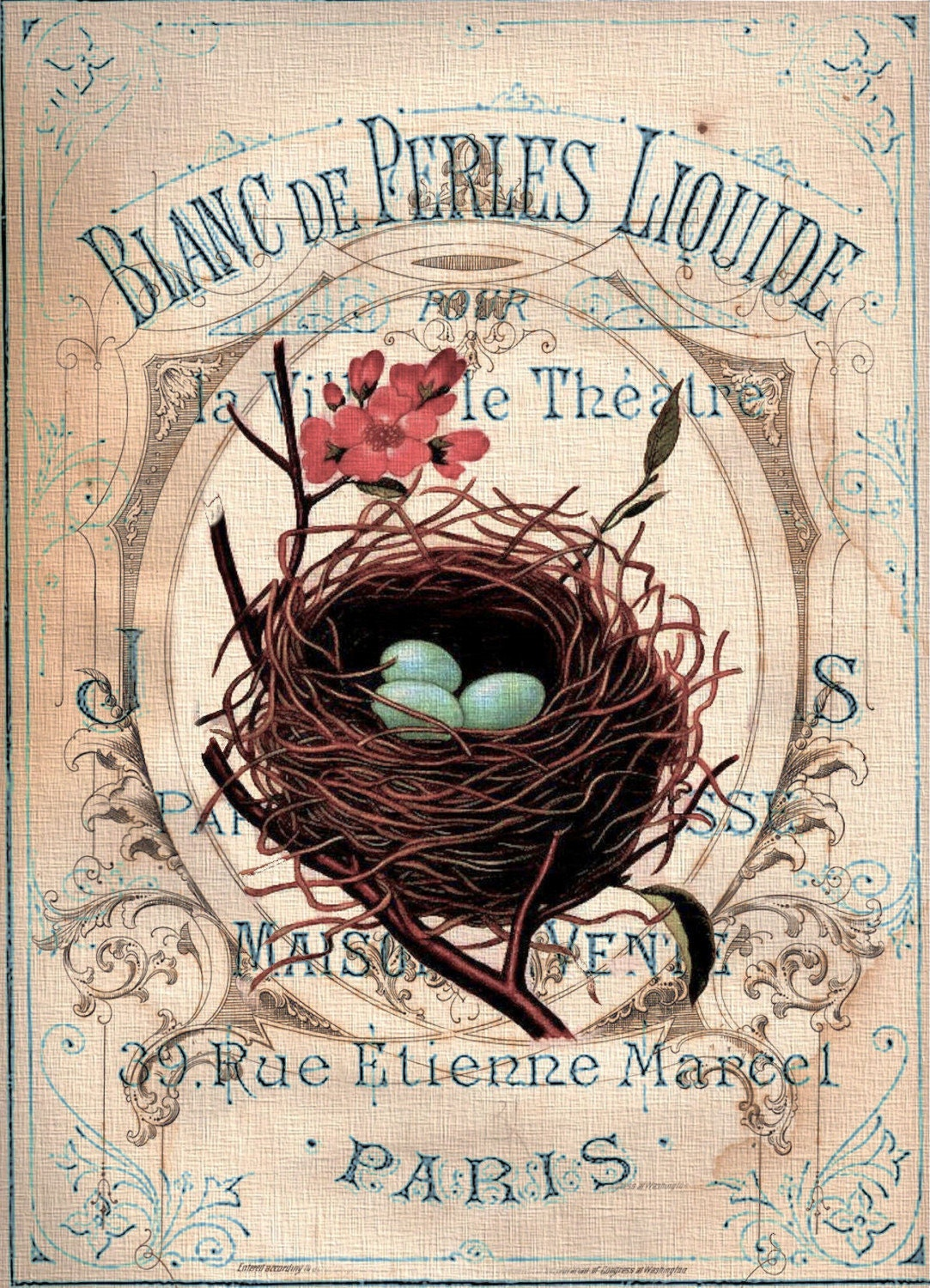 French Shabby Nest Collage Print