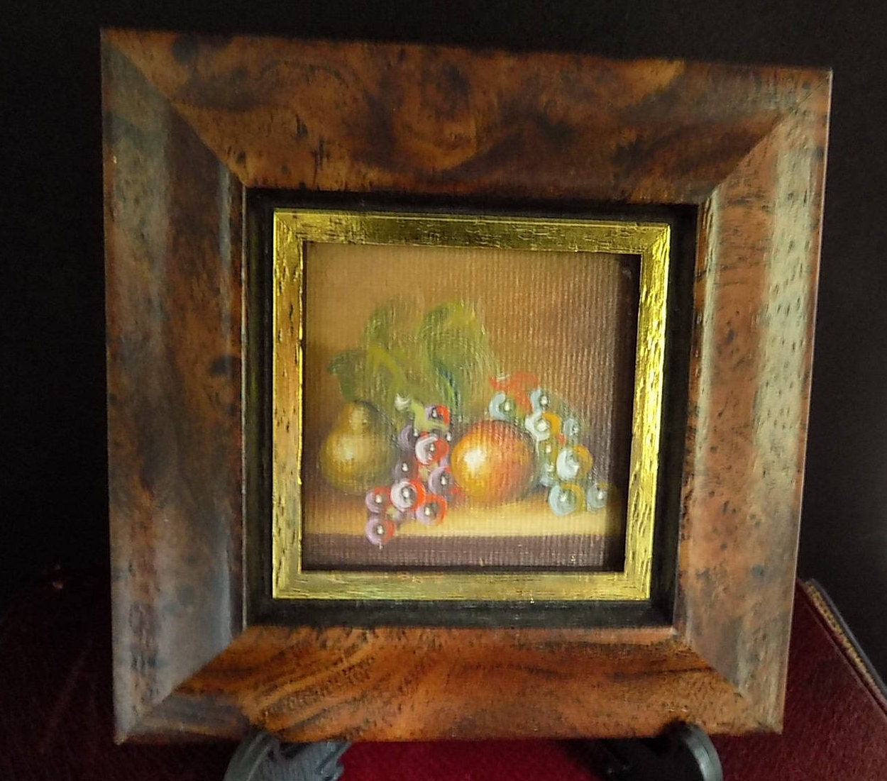Image of Vintage Oil Painting Still Life Picture Vintage Painting Mini Painting